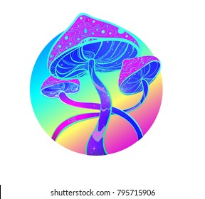 Magic psychedelic mushrooms on colorful circle, hallucination, 60s hippie illustration.