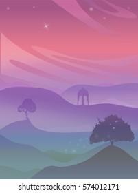 Magic purple night vector illustration. Night landscape with stars over the hills.