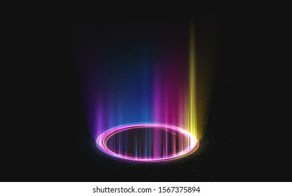 Magic rainbow portal on night scene. Neon circle digital hologram with colored light rays and sparkles. Realistic beam stage. Glowing futuristic teleport. Shining podium isolated on black background