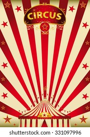 magic red paradise circus. A vintage circus poster with a big top
