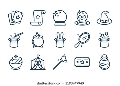 Magic related line icon set. Magical stuff linear vector icons.