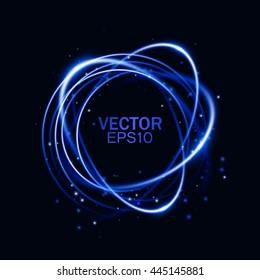 Magic round frame. Glow light effect. Swirl trail effect on black background. Vector illustration.