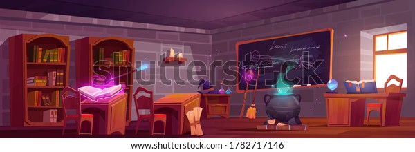 Magic school, classroom interior with wooden desks for pupils and teacher, blackboard with chalk writings. Cauldron with potion, witch hat, spell book, wizard wand, broom. Cartoon vector illustration