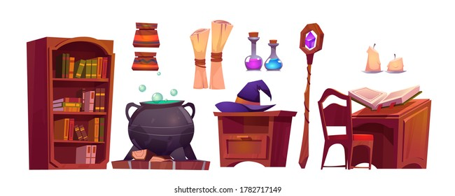 Magic school interior with open book of spell, paper scroll, staff and cauldron with potion. Vector cartoon set of furniture in wizard or witch room, hat, candles, flasks and bookcase