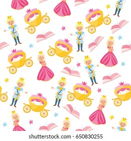 Magic seamless pattern for girls. Illustration with different elements of fairy tales. Beautiful childish objects and characters. Background for fabric print, texture and wrapping paper.