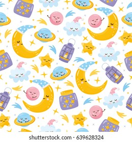 Magic seamless pattern. Illustration with different elements of space. Beautiful childish night elements and characters. Sweet dreams. Background for fabric print, texture and wrapping paper.