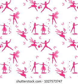 Magic seamless pattern with pink silhouettes of winged dancers, hearts, flowers and butterflies. Fairies and elves dance ballet in spring.