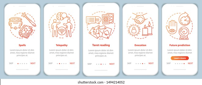 Magic services onboarding mobile app page screen vector template. Telepathy, tarot reading walkthrough website steps with linear illustrations. UX, UI, GUI smartphone interface concept