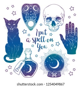 Magic set - planchette, skull, palmistry hand, crystal ball, bottle and black cat hand drawn art isolated. Ink style boho chic sticker, patch, flash tattoo or print design vector illustration