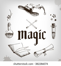 magic set, wizard, hat, book, roll, potion. magic party. Hand painted