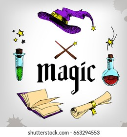 magic set, wizard, hat, book, roll, potion. magican party. Hand painted