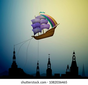 magic ship flying, ship in the evening sky in clouds above the city,  fairy dreamland sailor above the city, vector