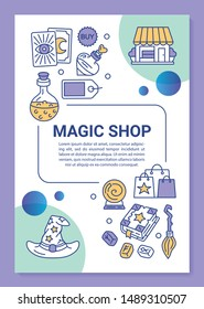 Magic shop poster template layout. Esoteric store goods. Banner, booklet, leaflet print design with linear icons. Spellbook, tarot cards. Vector brochure page layouts for magazines, advertising flyers