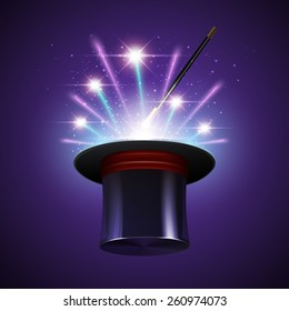 Magic show background with realistic magician hat stick and fireworks vector illustration
