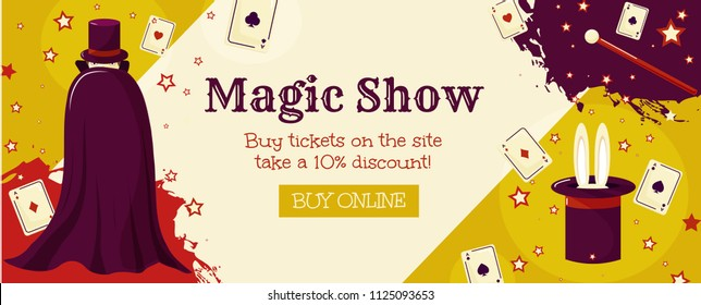 Magic show. A banner template with a wizard, cards and a magic wand. Circus tricks