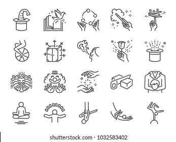 Magic show line icon set. Included the icons as unicycle, magician, acrobatics, clown, magical wand, performance, juggling, exciting performing and more.