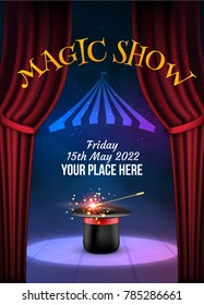 Magic Show poster design template. Illusion magical vector background. Theater magician flyer with hat trick.