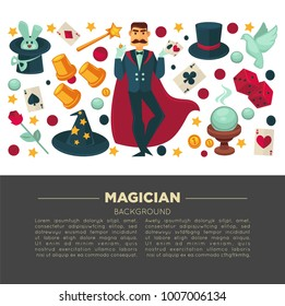 Magic show poster of magician man and trick equipment vector flat icons