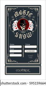 magic show  ticket concert coupon admit film entertainment illusion, focuses, transformation, playing cards, magician