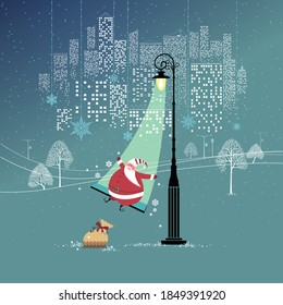 Magic silent night. Cute Santa Claus with gifts is having good time swinging in a cone of light. Big city behind him. Seasons Greetings concept. Vector illustration.