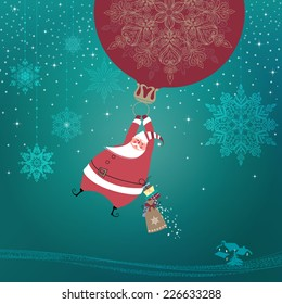 Magic silent night. Cute Santa Claus with gifts is coming down holding giant Christmas ornament ball as a balloon. Seasons Greetings concept. Vector EPS 10 illustration.