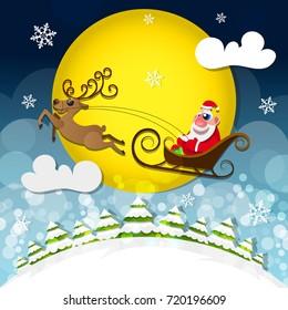 Magic silent night. Cute Santa Claus.