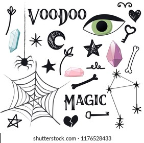 Magic simple set, voodoo potion design, vector