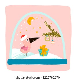 magic snow globe inside a pink bird in a red hat, a blue gift with a yellow bow, a fir tree branch with new year's toys, the moon and stars are shining