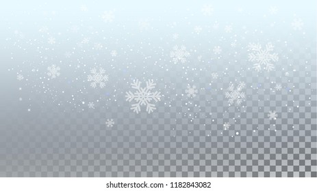 Magic Snowfall Header Isolated on Transparent Backgound for Web Design. Vector illustration