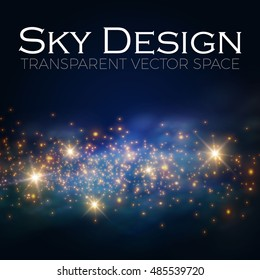 Magic Space. Fairy Dust. Infinity. Abstract Universe Background. Blue Gog and Shining Stars. Vector illustration
