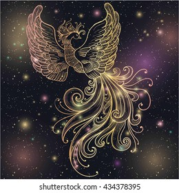 Magic space Firebird with stars vector clipart Gold glow and glitter. Ornate Filigree. Boho zentangle line art doodle. Suitable for tattoos, body art, coloring for adults and vintage design.