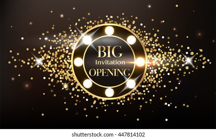 Magic sparkling grand opening composition with shiny spotlights. Vector illustration