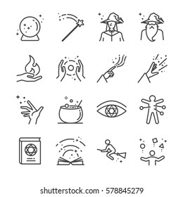 Magic and spell line icon set. Included the icons as wizard, witch, witchcraft, magic book, voodoo, broom and more.