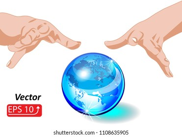 Magic sphere Crystal Ball blue planet Eath with hands, isolated on white background, mystic magic symbol,  Halloween concept vector illustration