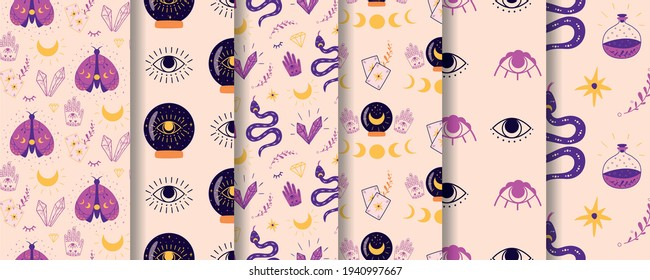 Magic spiritual pattern set. Mystic crystal ball seamless pattern fortune eye moth moon serpent violet background. Spiritual esoteric alchemy pattern. Vector illustration. Halloween wallpaper surface.