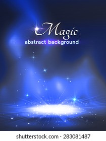 Magic stage background with smoke and stars. Vector illustration