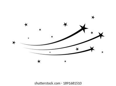 Magic star dust trail, star glitter vector shoot of comet. Flying meteorite stardust