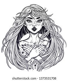 Magic starry witch girl. Young woman with long hair blown by the wind with a body covered with stars. Alchemy, tattoo art, t-shirt design, adult coloring book page. Isolated vector. Pagan goddess.