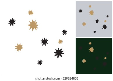 Magic stars. Isolated vector art element on white, gray and dark green background in sketch style. Hand drawn christmas or New Year illustration.