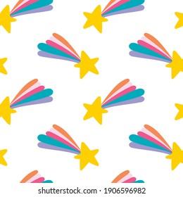 Magic stars. Rainbow. Comet. Cartoon print. Seamless vector pattern (background).
