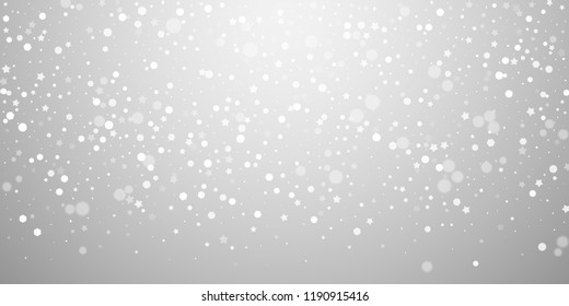 Magic stars random Christmas background. Subtle flying snow flakes and stars on light grey background. Beauteous winter silver snowflake overlay template. Shapely vector illustration.