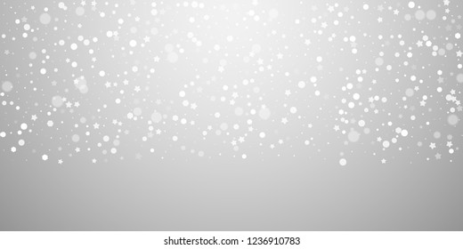 Magic stars random Christmas background. Subtle flying snow flakes and stars on light grey background. Beauteous winter silver snowflake overlay template. Charming vector illustration.