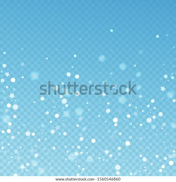 Magic stars random Christmas background. Subtle flying snow flakes and stars on blue transparent background. Adorable winter silver snowflake overlay template. Admirable vector illustration.