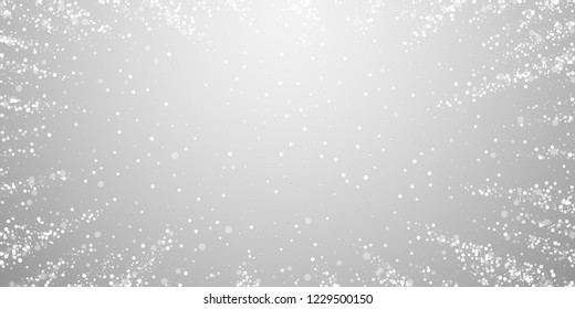Magic stars sparse Christmas background. Subtle flying snow flakes and stars on light grey background. Beautiful winter silver snowflake overlay template. Remarkable vector illustration.