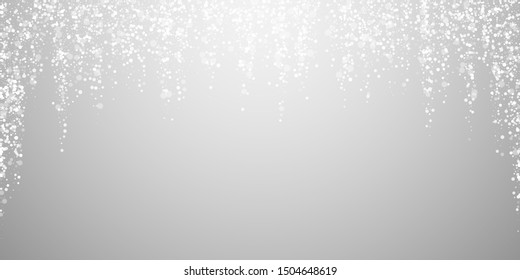Magic stars sparse Christmas background. Subtle flying snow flakes and stars on light grey background. Attractive winter silver snowflake overlay template. Fancy vector illustration.