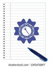 magic stick icon draw (pen strokes). Blue ink. Vector Illustration. Detailed.