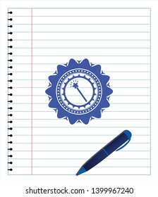 magic stick icon draw with pen effect. Blue ink. Vector Illustration. Detailed.