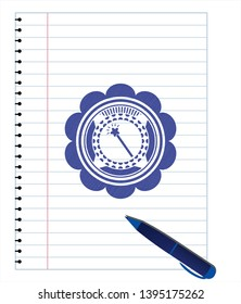 magic stick icon drawn with pen strokes. Blue ink. Vector Illustration. Detailed.