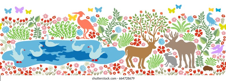 Magic summer lake. Seamless pattern for wall painting and fresco. Fantasy birds and animals in the forest. Deer, elk, herons, cranes, ducks, swans and blooming floral carpet on white background.