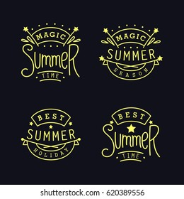 Magic Summer season. Best holiday. Set of Labels. Four thin line emblem with funny slogans. Vector design elements